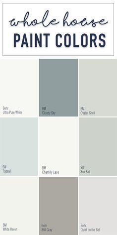 Paint Colors for a Whole Home Color Palette - Calming Neutral .