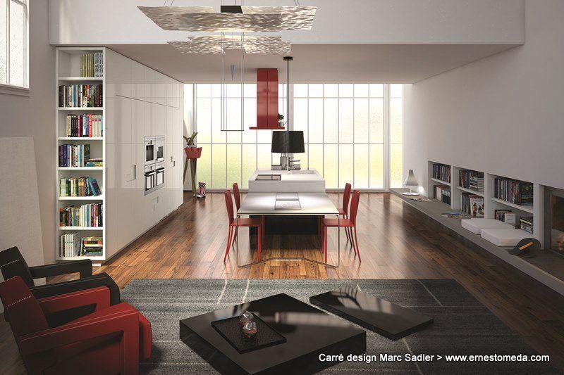 Carré design Marc Sadler | Modern kitchen design, Living area .