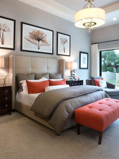 Neutral Bedroom with Burnt Orange Accents | Orange bedroom decor .