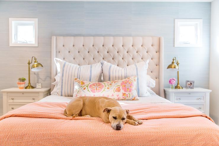 Cream and Gray bedroom with Orange Accents - Transitional - Bedro