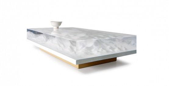 Oriental Landscape Sculpture Tea Table With A Philosopical Twist .