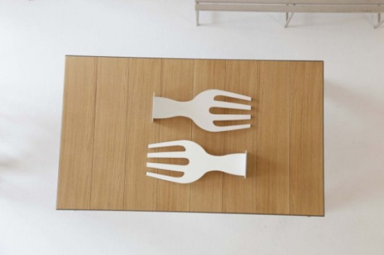 Original Dining Table With Fork- And Knife-Shaped Legs - DigsDi