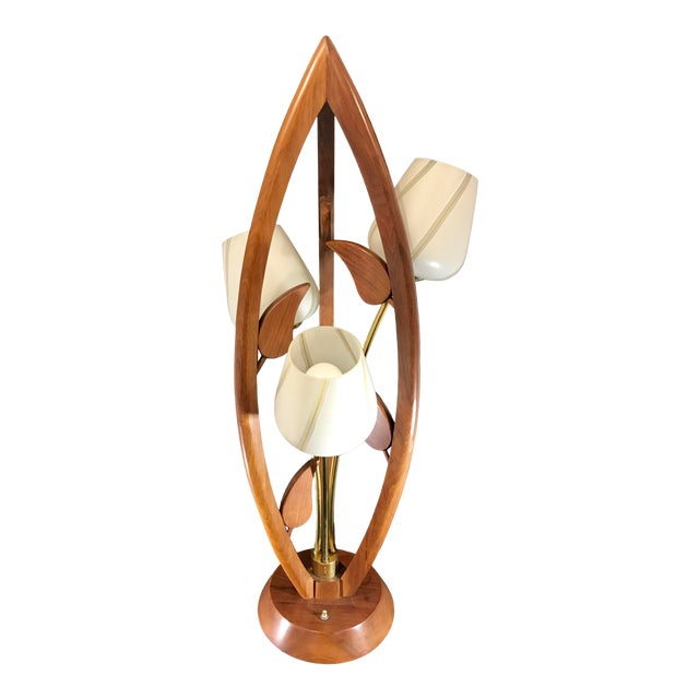 Danish Teak Wood Mid Century Modern Tulip Table Lamp With Original .