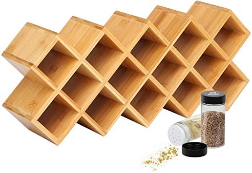 Amazon.com: Criss-Cross 18-Jar Bamboo Countertop Spice Rack .