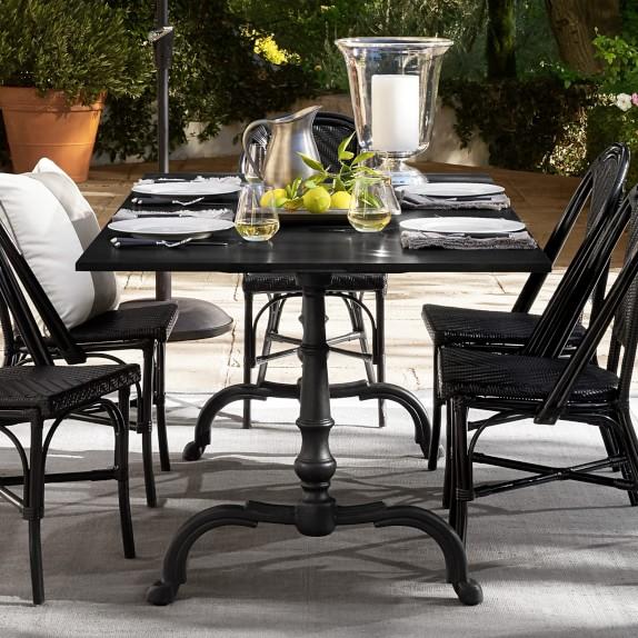 La Coupole Indoor/Outdoor Rectangular Dining Table, Black Granite .