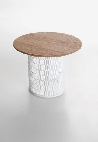 END TABLE IDEA: metal garbage bin + wood top ( possibly with built .