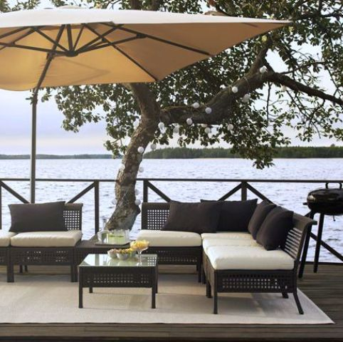 Ikea Kungsholmen outdoor lounge set of rattan and Hallo upholstery .