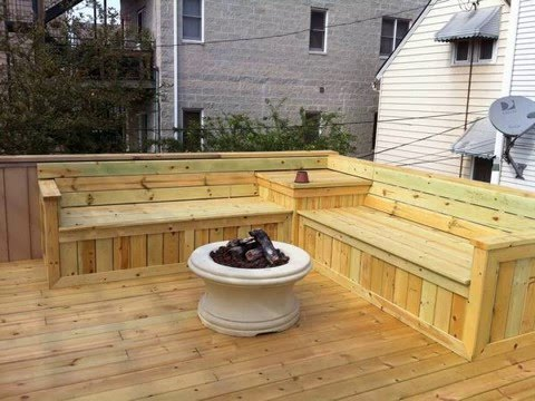 outdoor wood l shaped benches - YouTu