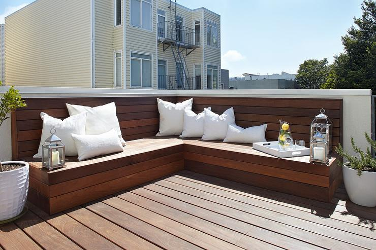 L Shaped Plank Bench - Transitional - Deck/pat