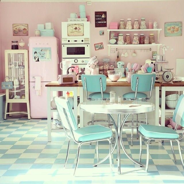 pastel American diner kitchen retro vintage interior design pink .