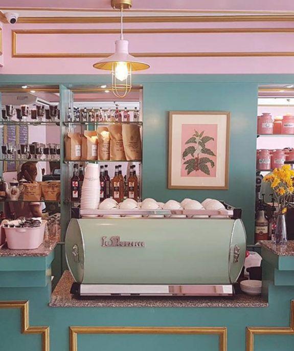 wear this there: café congreso. / sfgirlbybay | Pastel interior .