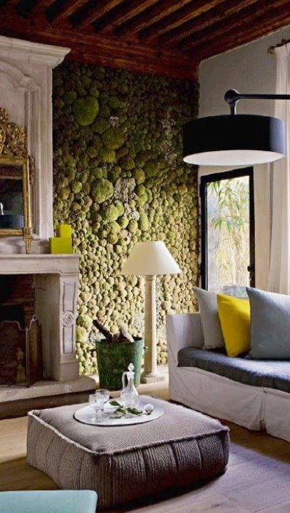 Indoor moss wall -- for atrium lounge and/or inside fireplace .