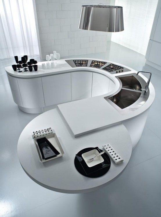 pedini-kitchen-round-countertops | Contemporary kitchen design .