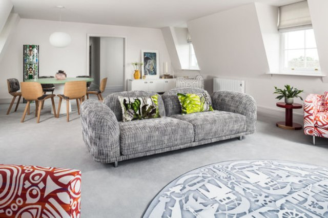 Contemporary Penthouse With Bright Textil