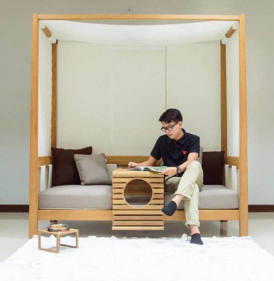 PET Modular Sofa With A Pet Home Integrated - DigsDi