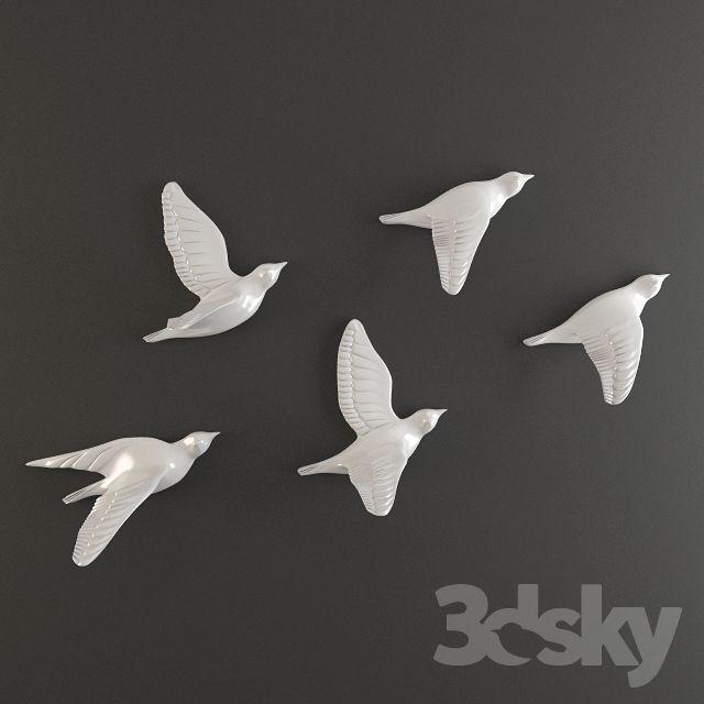 3d models: Sculpture - porcelain birds wall decor | Bird wall .
