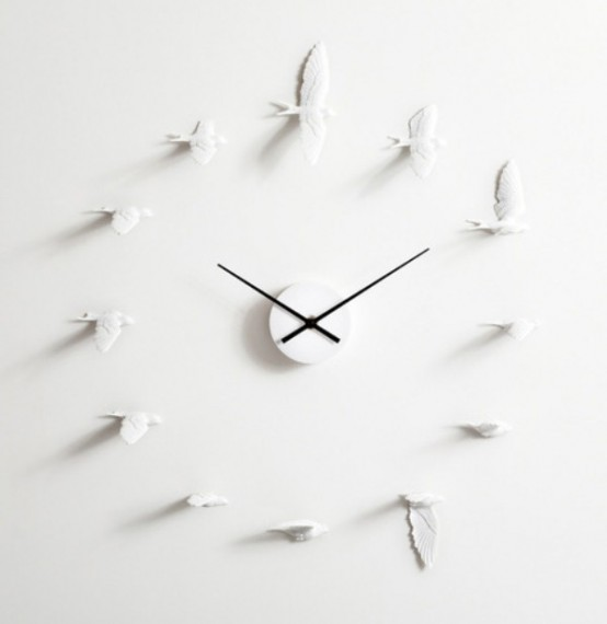 Philosophic And Romantic Flying Swallows Clock - DigsDi