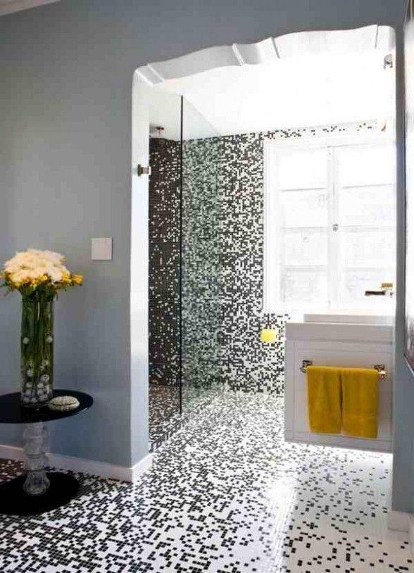 Black white yellow pixilated mosaic bathroom tiles   Custom mosaic .