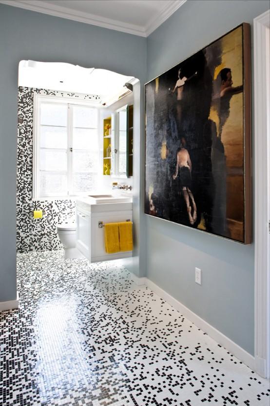 Pixilated Bathroom Design Made With Custom Mosaic Tile - DigsDi