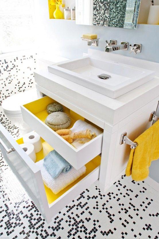 Pixilated Bathroom Design Made With Custom Mosaic Tile   Yellow .