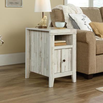 SAUDER Dakota Pass White Plank Slide-Out Shelf End/Side Table .