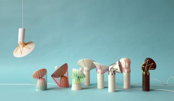 Playful Elastic Lights From Ceramics And Bold Elastic Cords - DigsDi