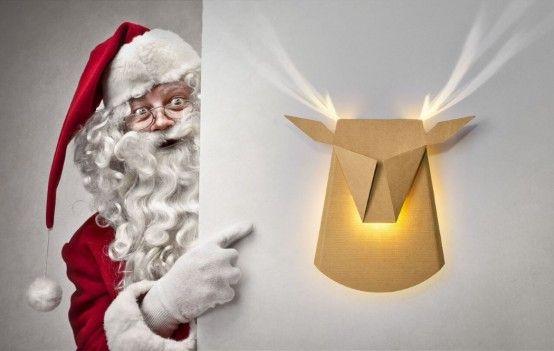 Popup Reindeer Cardboard Light With Shiny Antlers | Deer lamp .