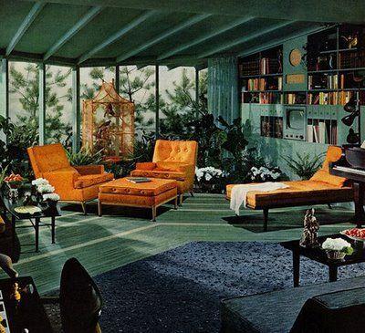 Living room of a Portland, Oregon, mid-century split-level ranch .