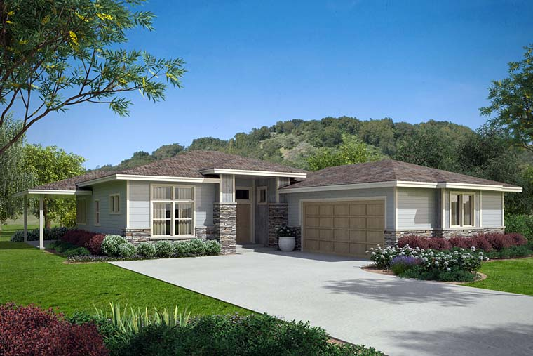 House Plan 41253 - Prairie Style with 2294 Sq Ft, 3 Bed, 2 Ba