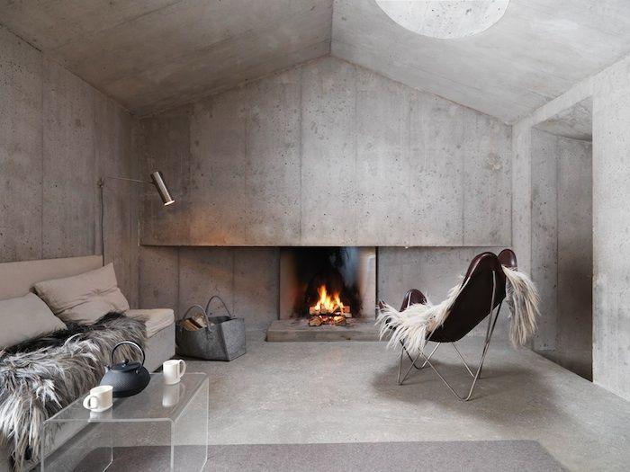 Concrete Minimalist Cabin in the Swiss Alps | Cottage renovation .