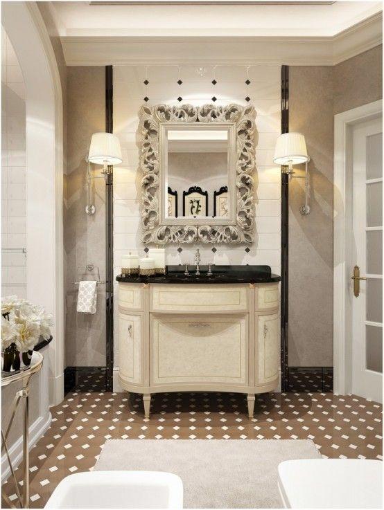 Coco Chanel Inspired Bathroom Decor   Elegant bathroom design .