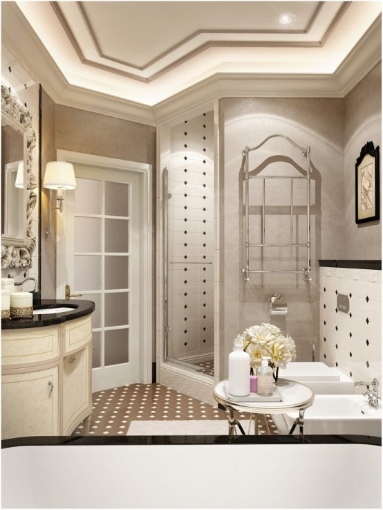Refined Bathroom Design Inspired By Coco Chanel Style - DigsDi