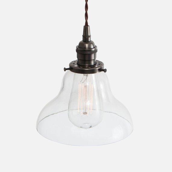 Glass Curved Bell Pendant Light - Ebonized Brass - Glass Pendant .