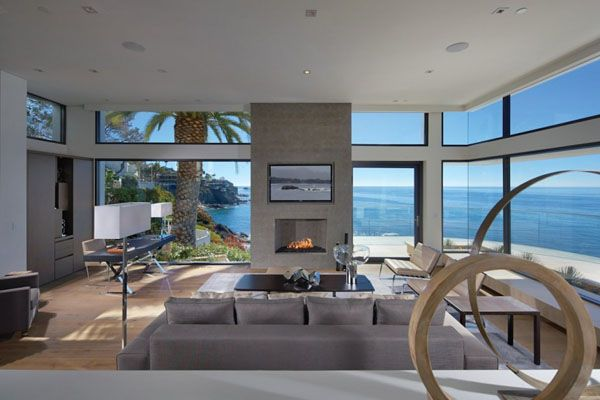 Seaside home perched above Laguna Beach with relaxed indoor .