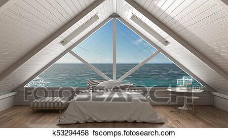 Panoramic window on open sea ocean, mezzanine loft, bedroom with .