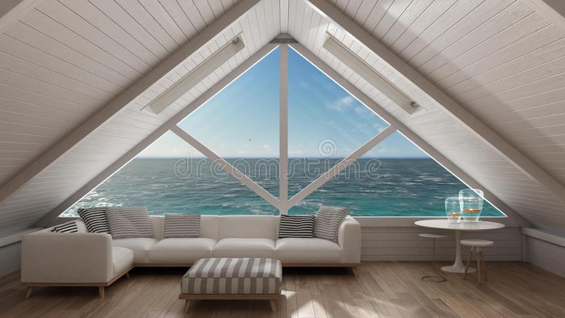 Panoramic Window On Open Sea Ocean, Mezzanine Loft, Living Room .