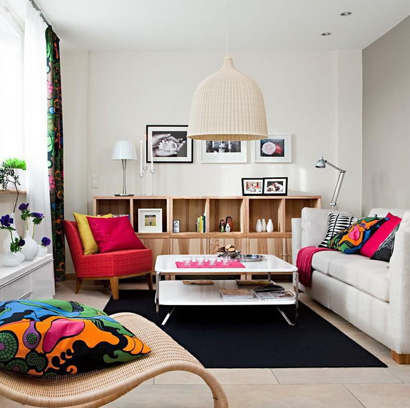 Dynamic And Lively Living Room With IKEA Furniture - DigsDi