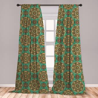 East Urban Home Ambesonne Mandala Curtains, Traditional Pattern .