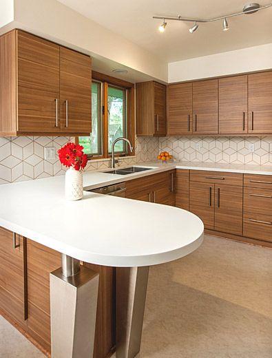 Mid-century modern kitchen design with a unique geometric tile .