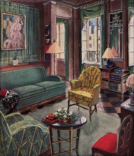 1929 Modern Living Room by Karpen | Art deco living room, Art deco .