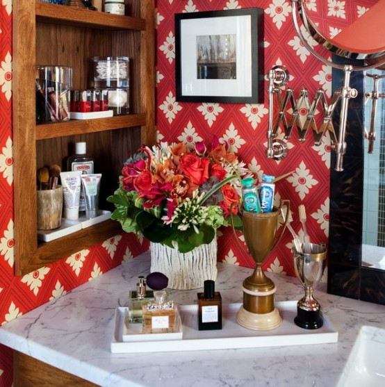 Retro-Styled Bathroom Resembling Of A Living Room - DigsDi