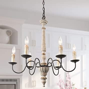 LALUZ French Country Chandelier Farmhouse Handmade Wood Rustic 6 .