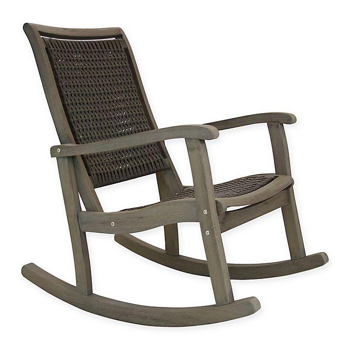 Outdoor Interiors® Eucalyptus and Wicker Outdoor Rocking Chair in .