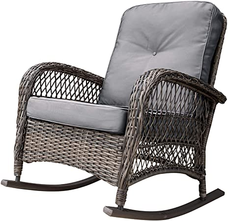 Amazon.com : Corvus Salerno Outdoor Wicker Rocking Chair with .