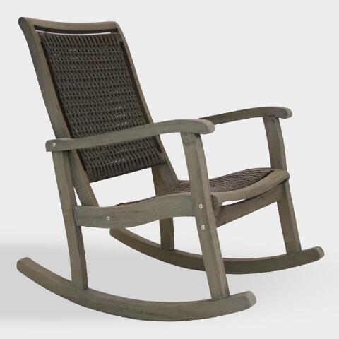 Graywashed Wood And Wicker Claire Outdoor Rocking Chair   World Mark