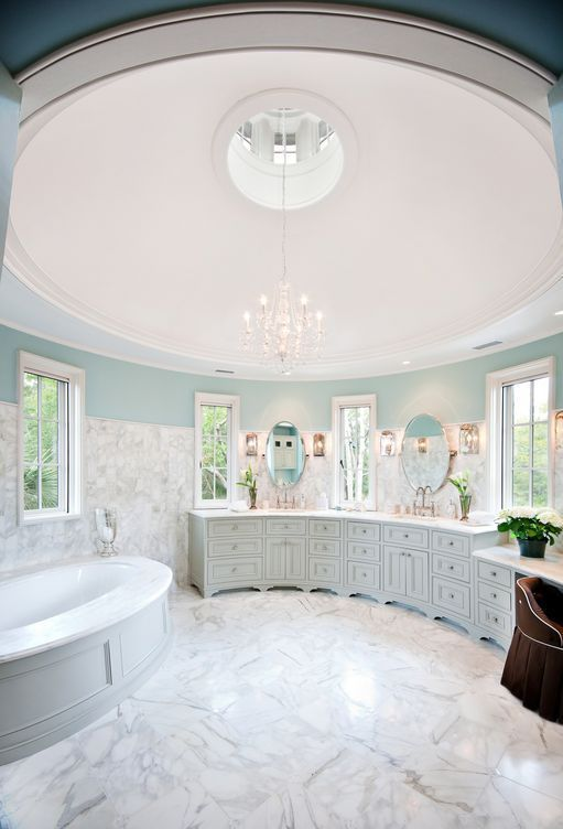 Stunning, romantic round tower bathroom in robin's egg blue and .