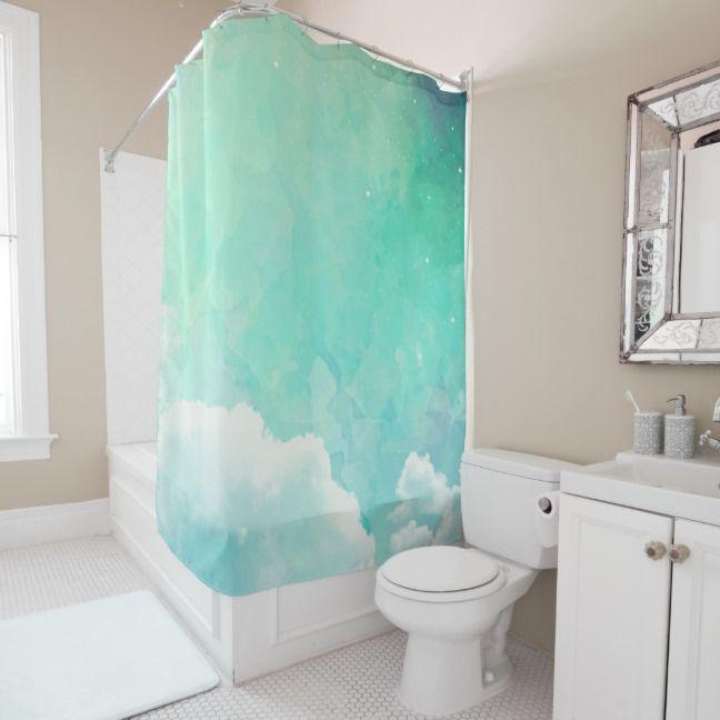 Watercolor Peaceful Sky Shower Curtain | Zazzle.com | Modern .