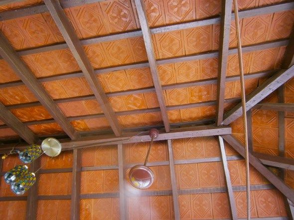 The roof is built with wooden reapers and laid out with old .
