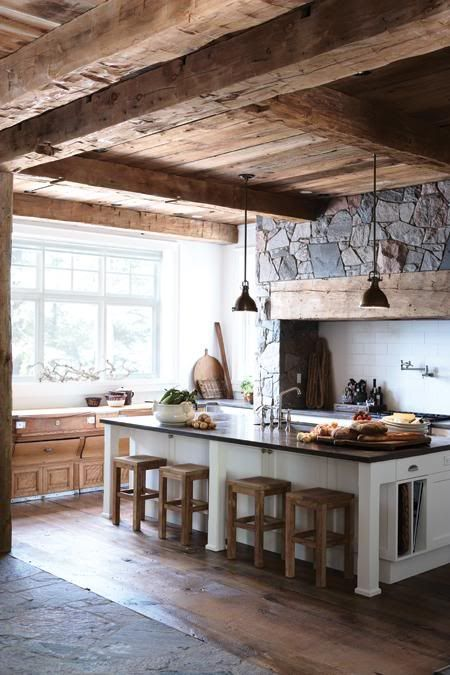10 Heavy Timber Kitchens That Make Us Drool | Rustic kitchen .