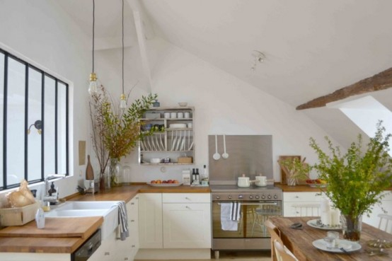 Rustic And Vintage Kitchen Design Filled With Natural Light - DigsDi